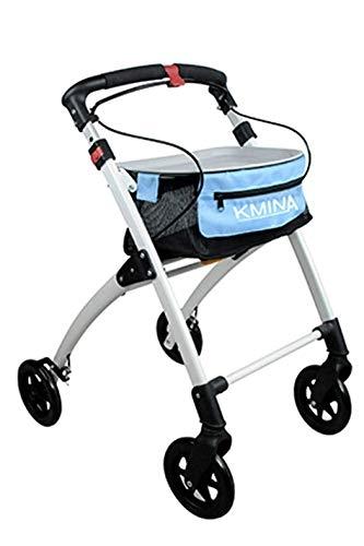 andador rollator KMINA.cuatro ruedas. color azul.
